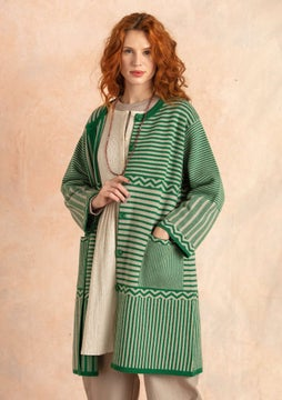 Criss-cross knitted coat dark emerald