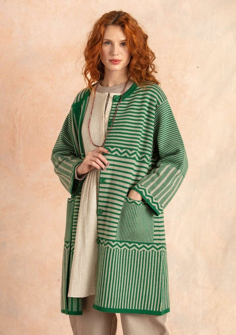 Knit Criss-cross coat dark emerald