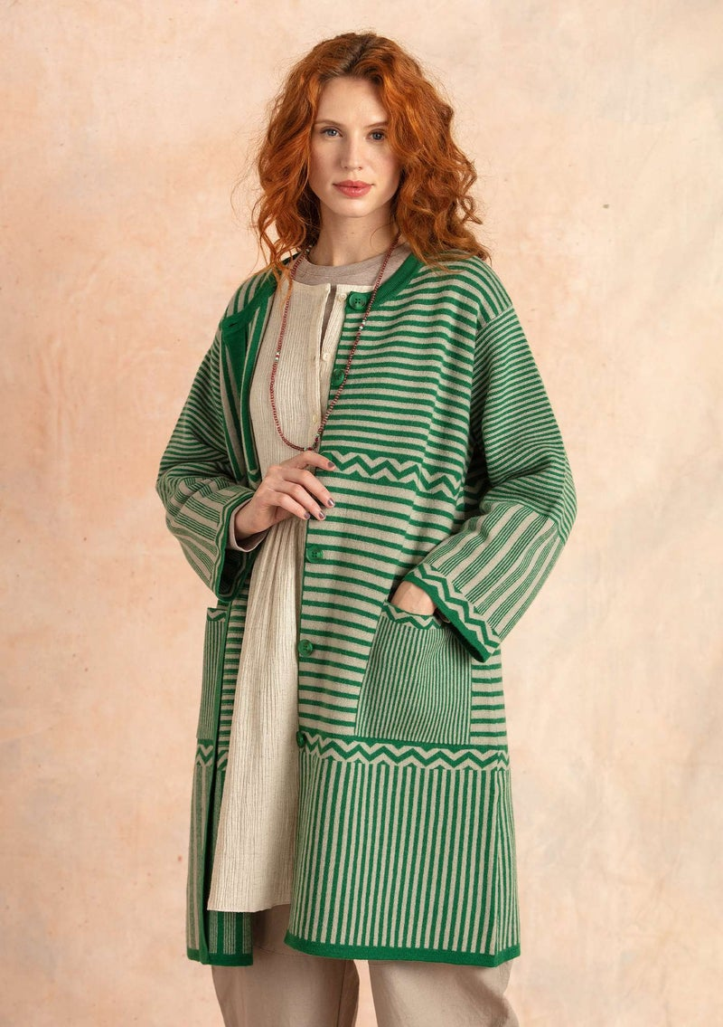 """Criss-cross"" wool coat dark emerald"