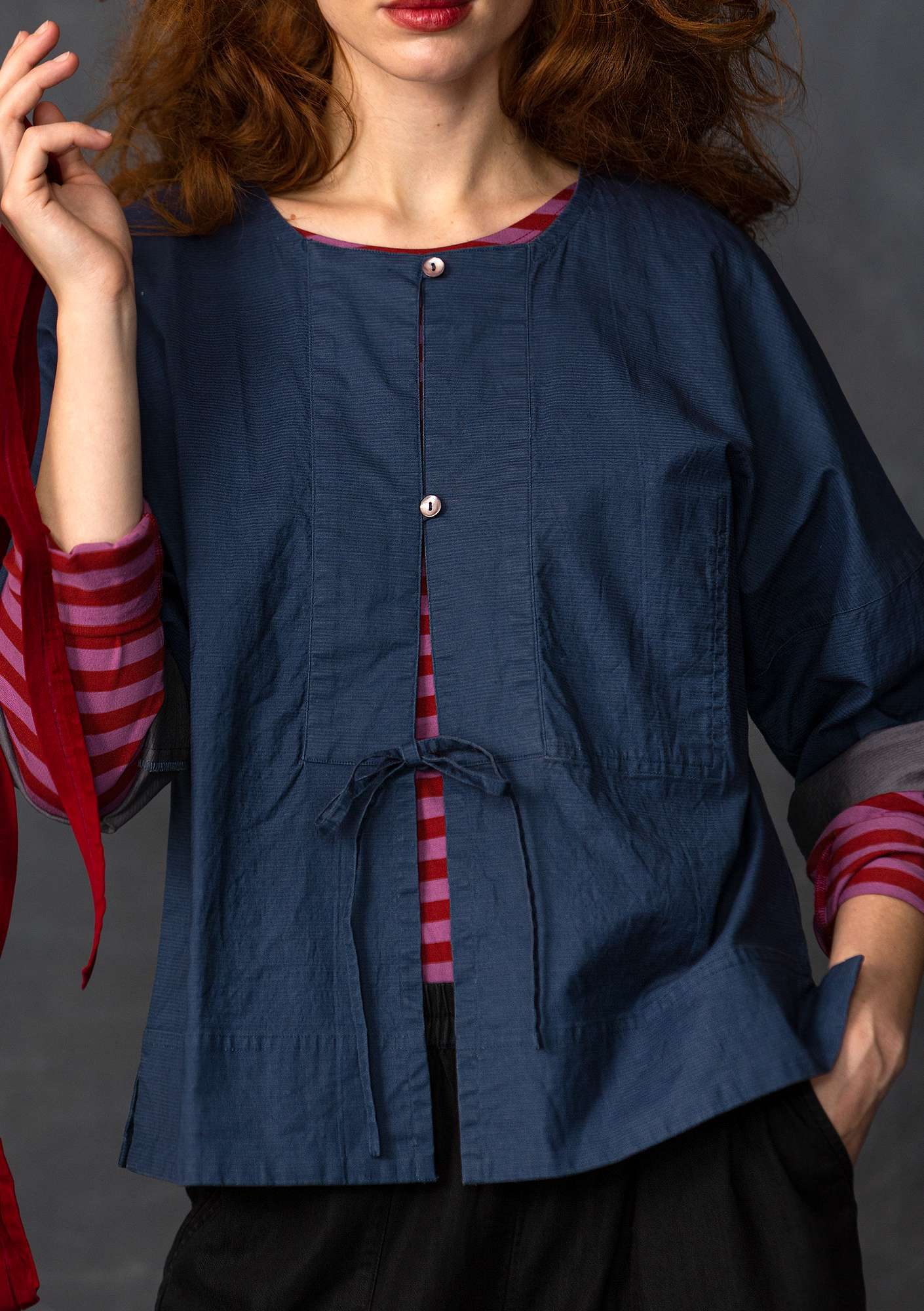 Linen/cotton blouse-style jacket indigo