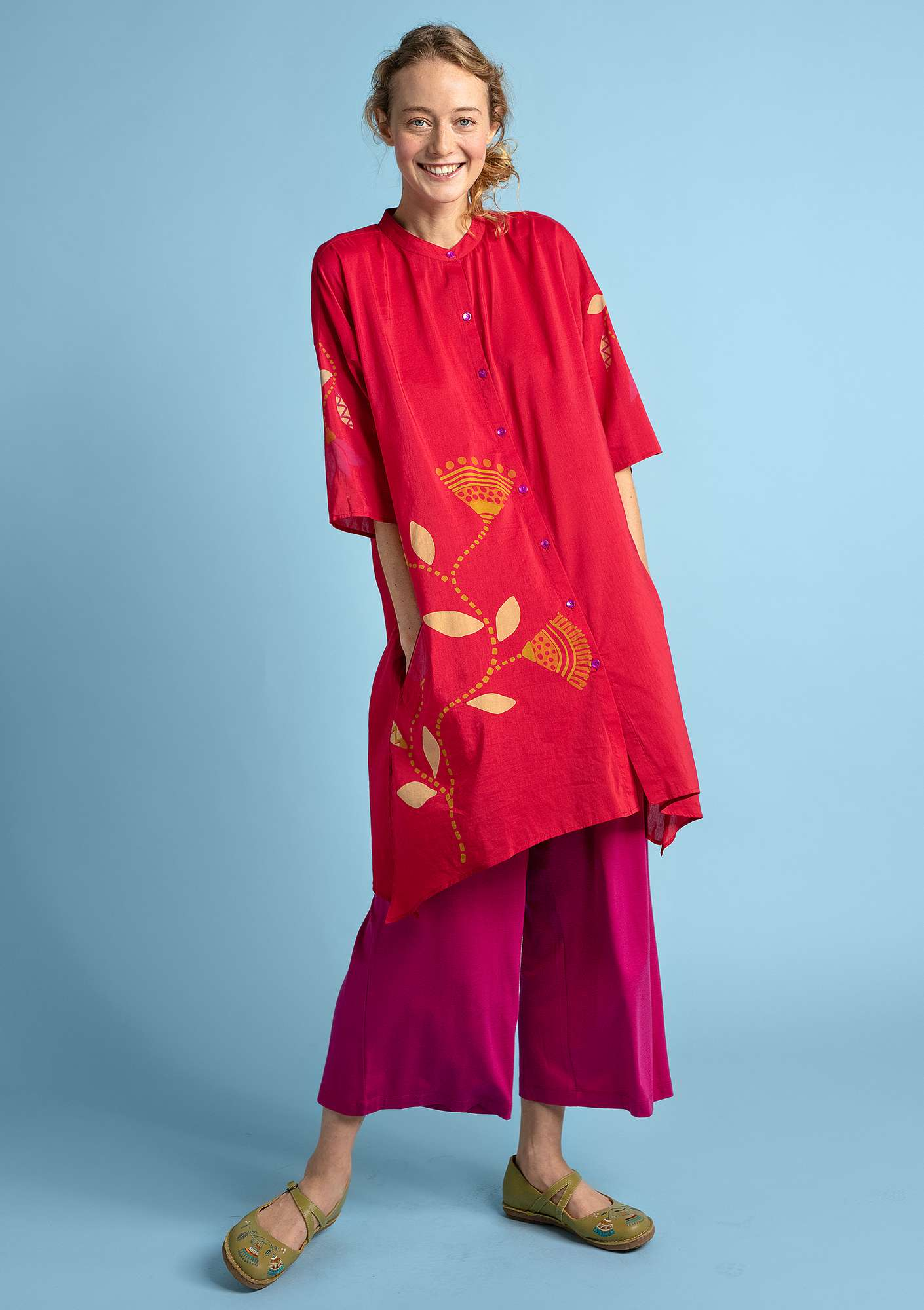 """Diana"" tunic in organic cotton/silk cherry"