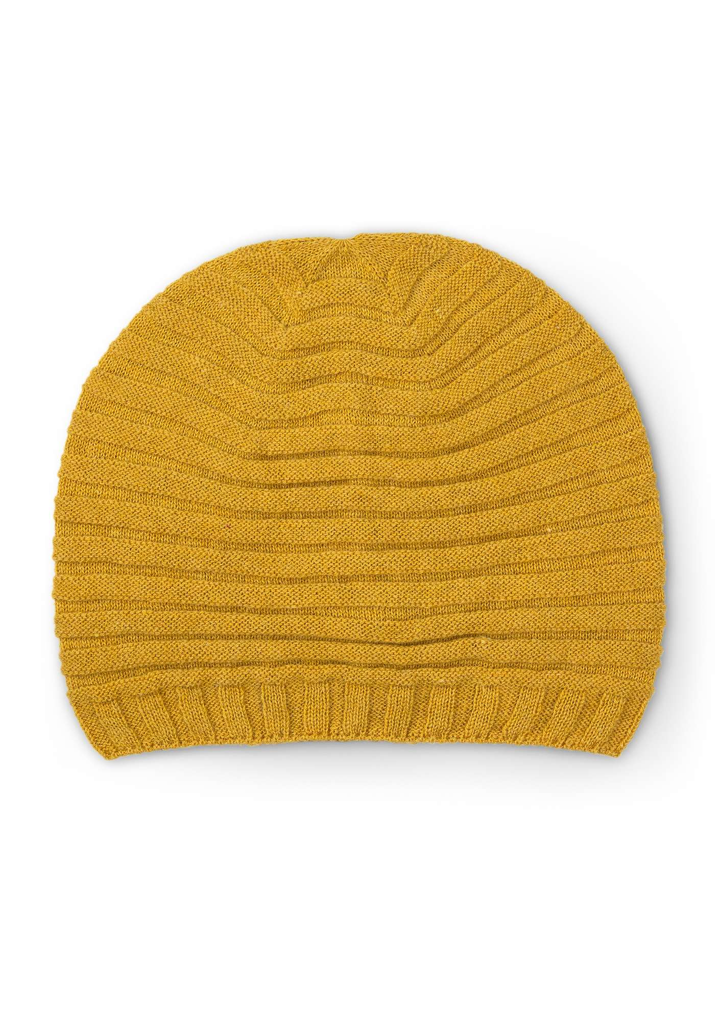 Pleated hat in a recycled cashmere blend pineapple