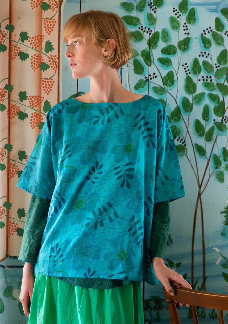 """Transparens"" blouse in organic cotton/silk turquoise"
