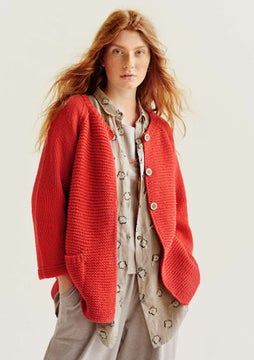 Hand-knitted cardigan bright red