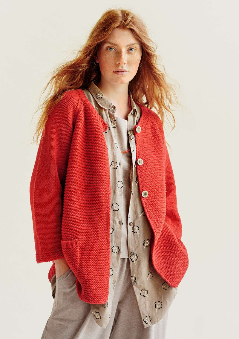 Hand-knitted organic cotton/wool cardigan bright red
