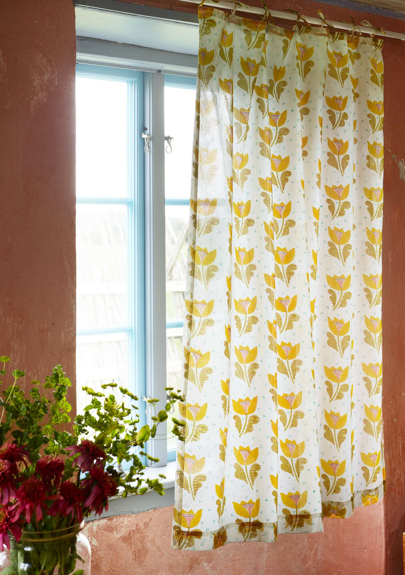 Herb block-printed short curtain pineapple
