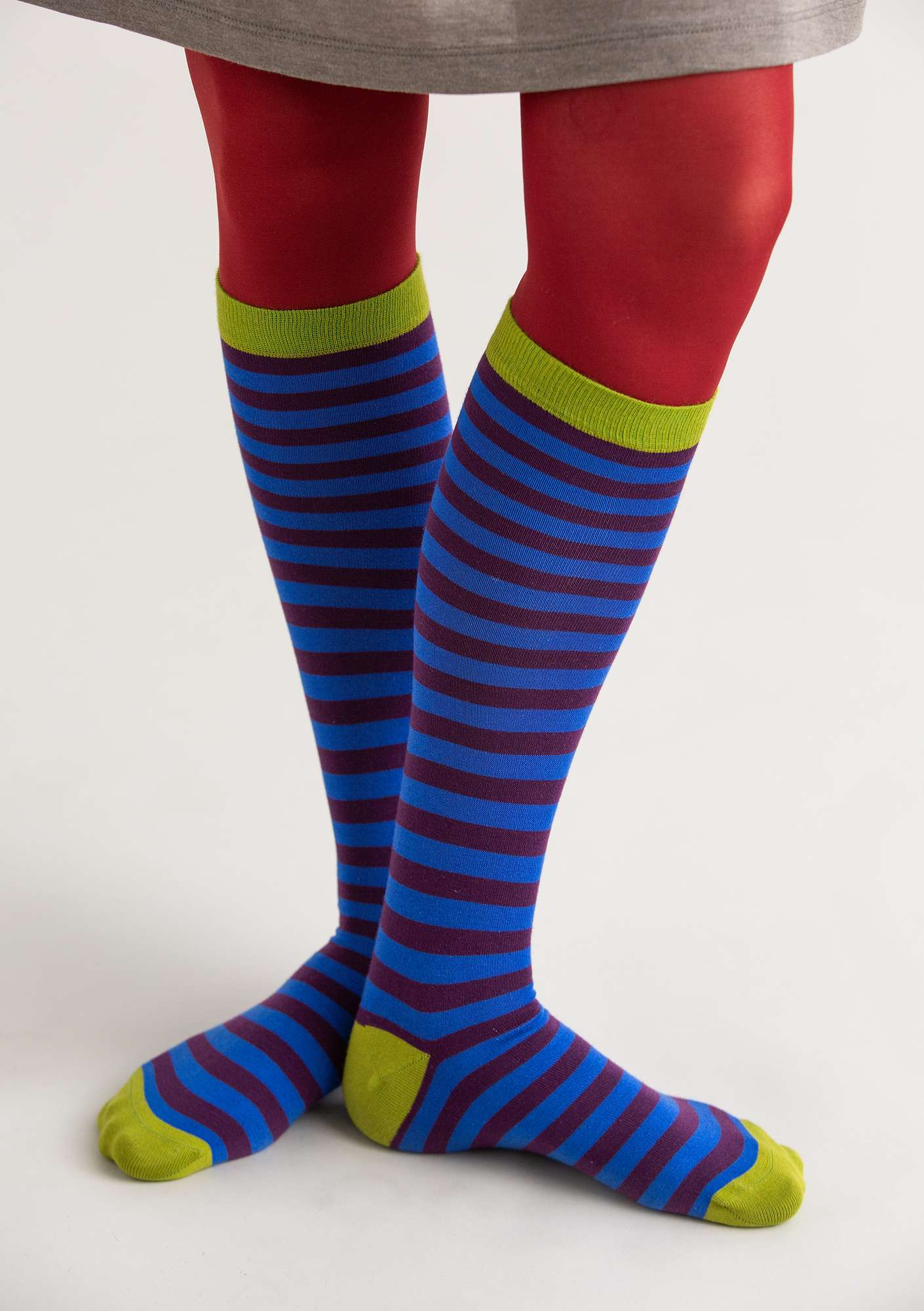 Striped knee-highs in organic cotton klein blue/lake
