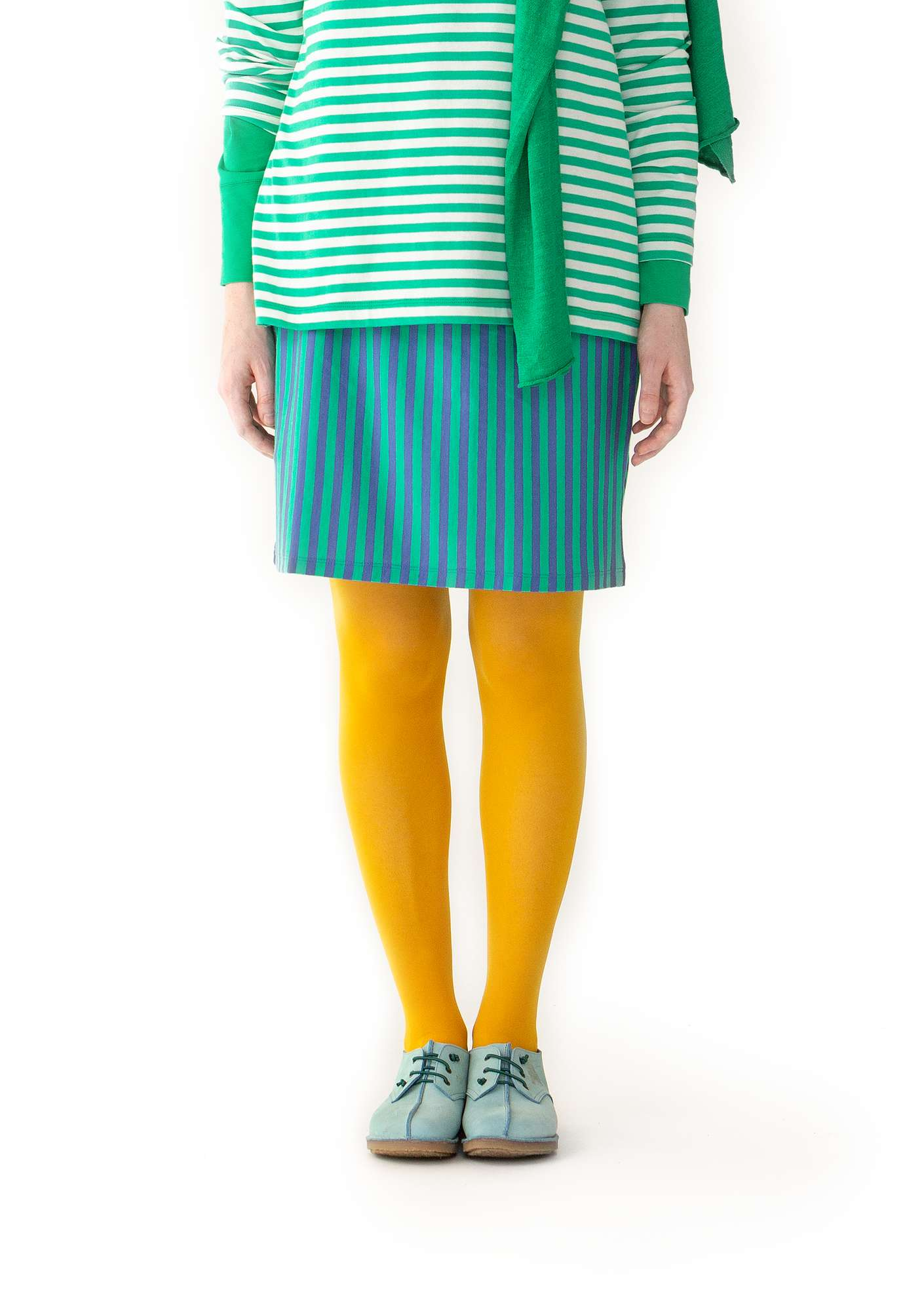 Striped skirt in organic cotton lotus green/sky blue