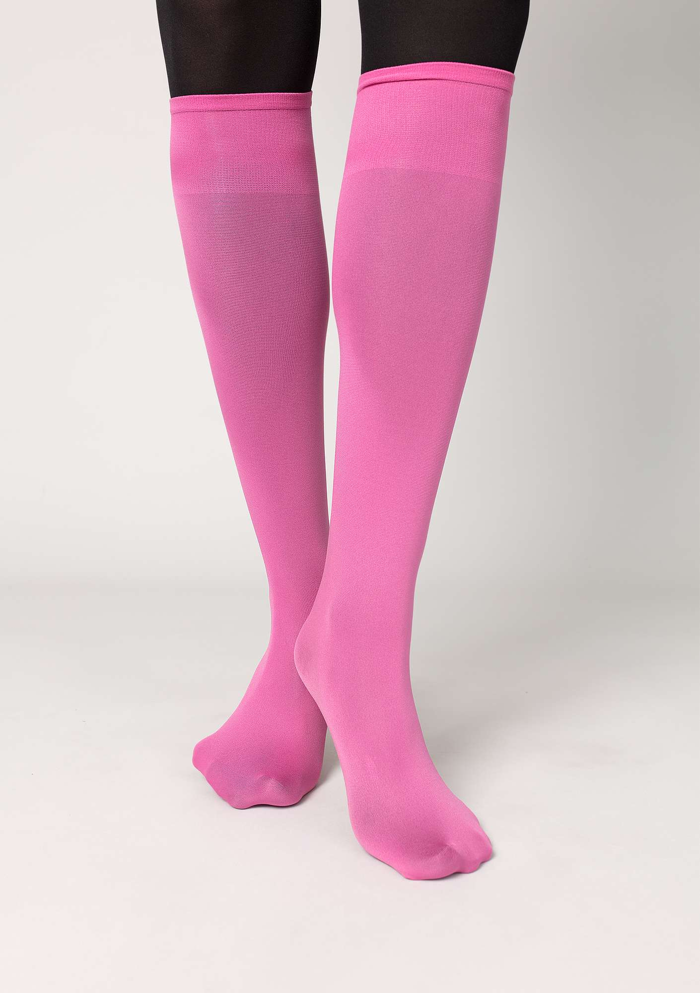 Knee-highs in recycled nylon dark peony