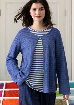 Pointellestrikket cardigan Leaf sky blue
