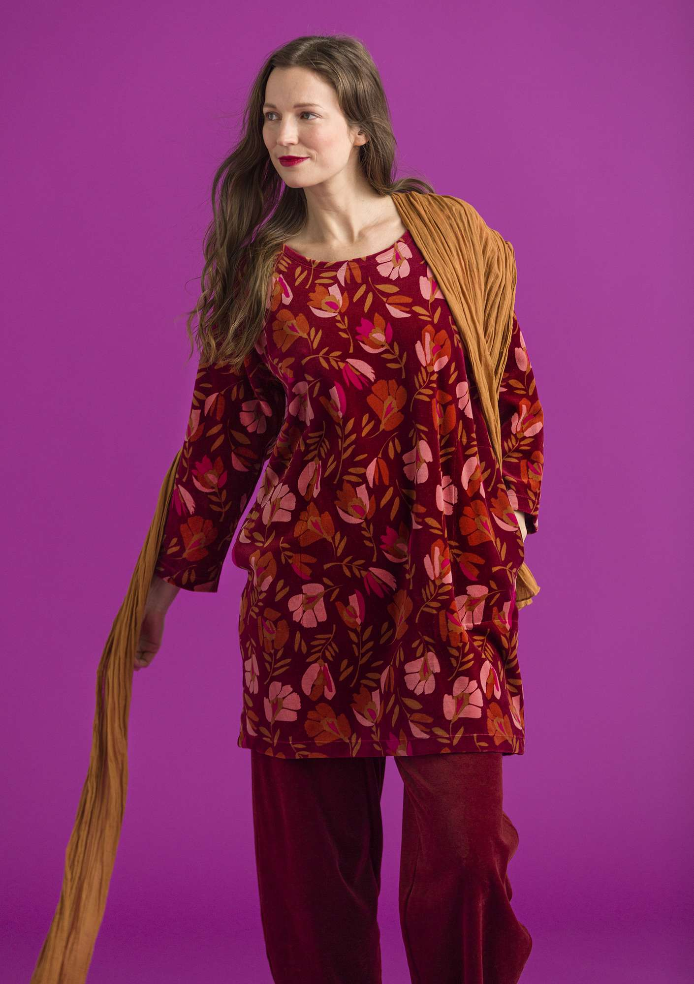 """Vurma"" velour tunic in organic cotton/polyester henna/patterned"