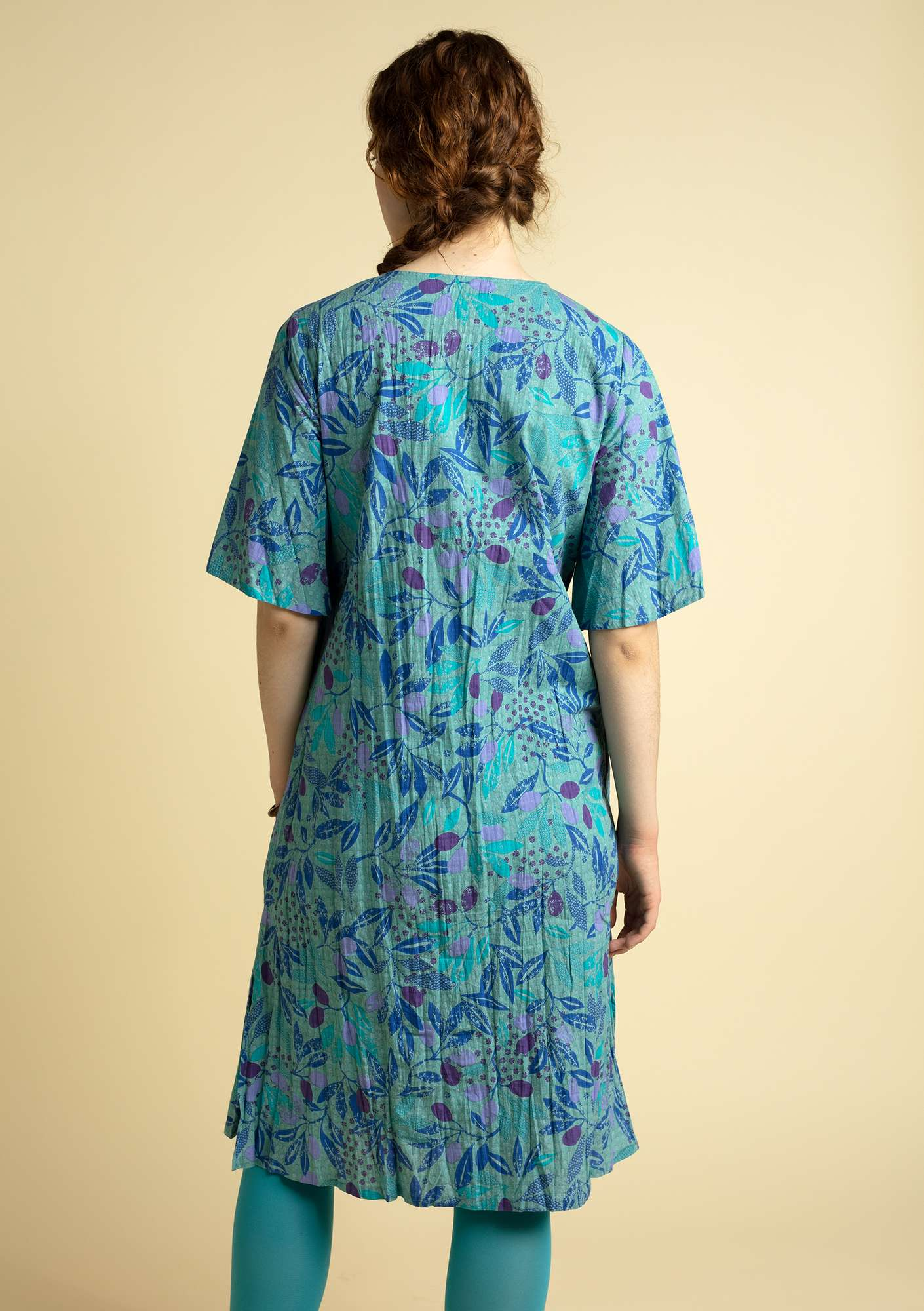"""Olivia"" dress in organic cotton turquoise"
