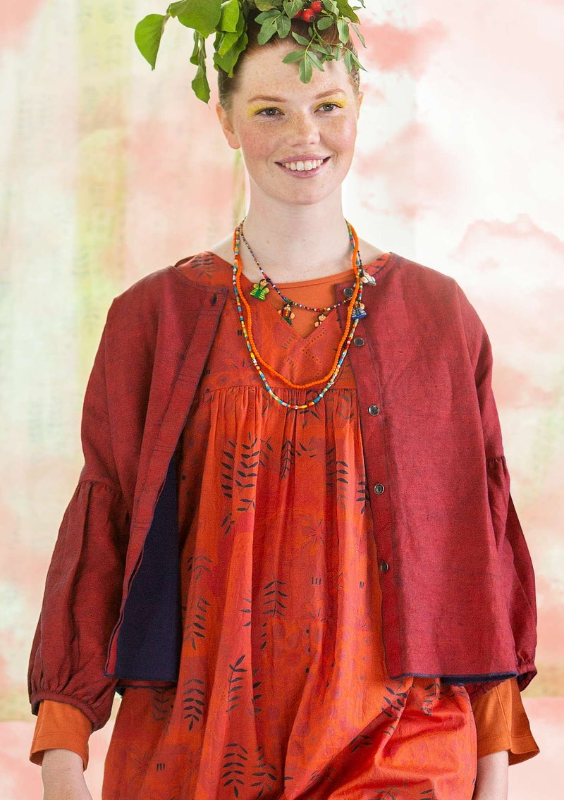 """Twin"" linen/organic cotton blouse red curry"