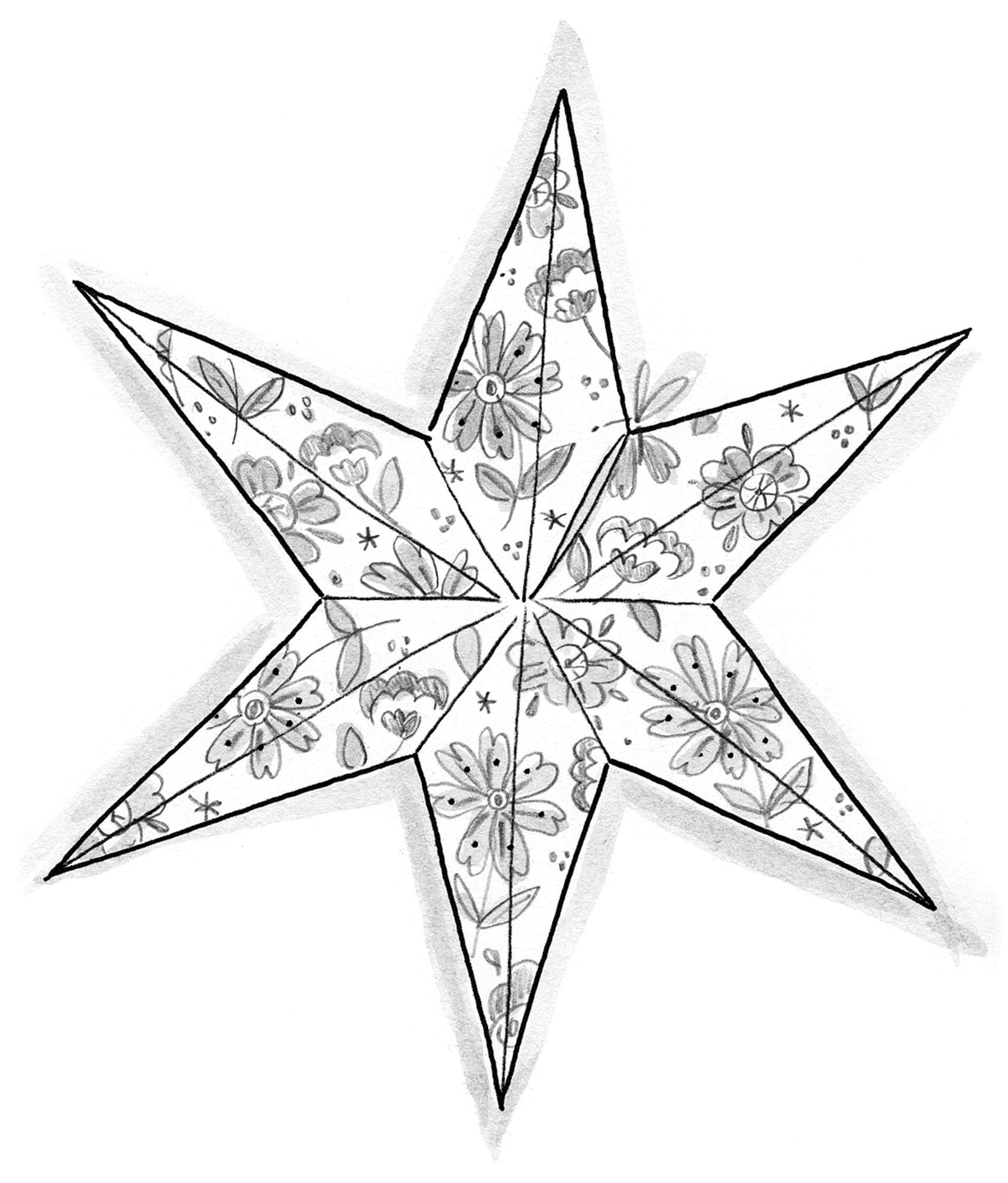 Holiday star in recycled paper
