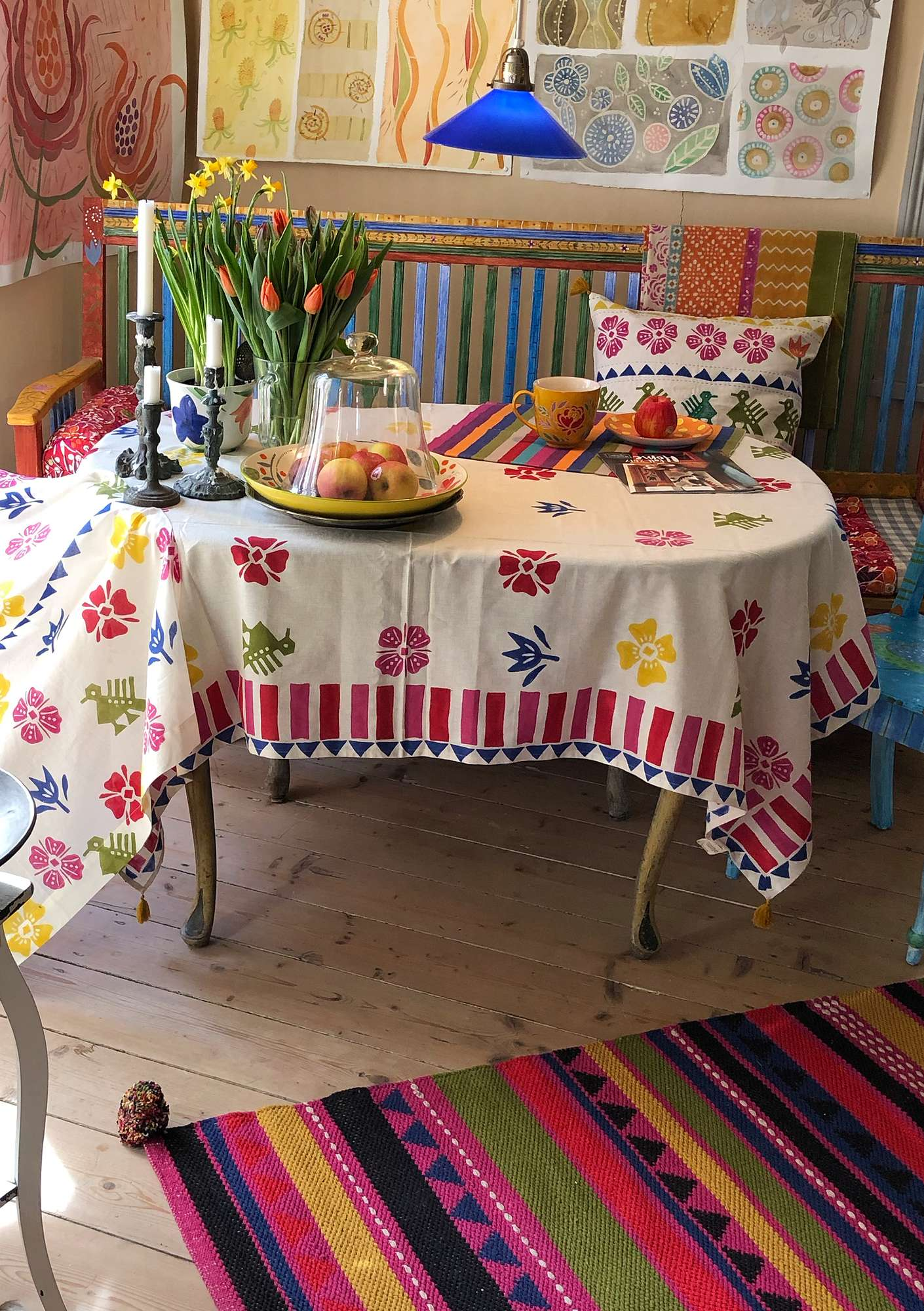 """Paloma"" tablecloth in cotton/linen multi-color"