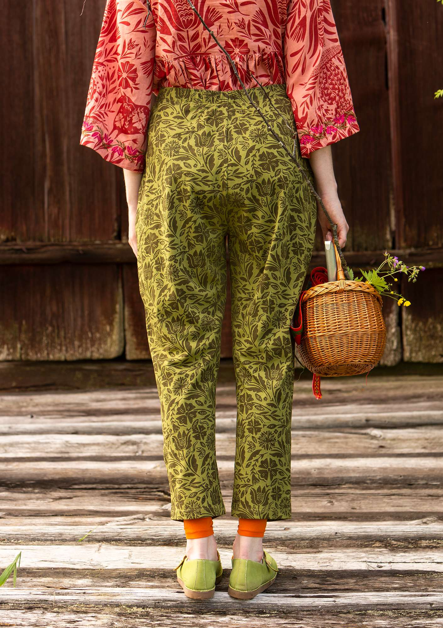 """Amber"" pants in organic cotton moss green"