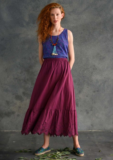 Solid-colour ruffle skirt grape