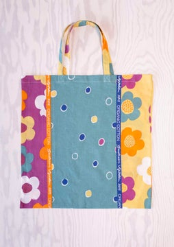 Fabric tote bag L patterned