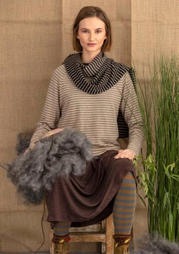 Cashmere sweater light potato/natural melange