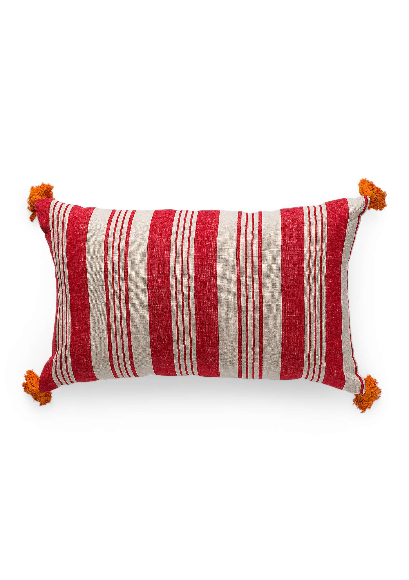 """Bolster"" cotton/linen cushion bright red"