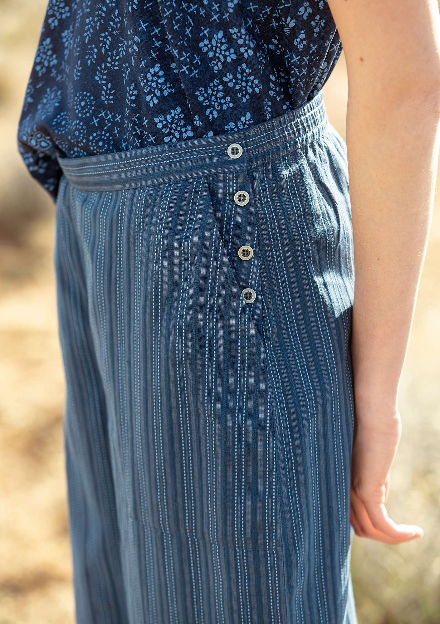 Pants in eco-cotton indigo