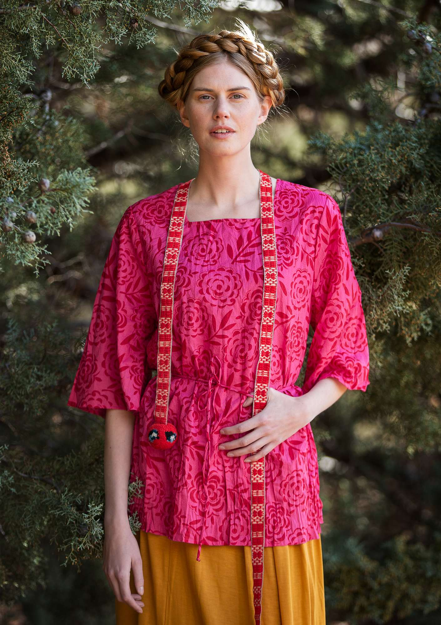 """Minnesota"" tunic in eco-cotton hibiscus"