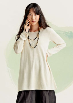 Silk knit fabric tunic undyed
