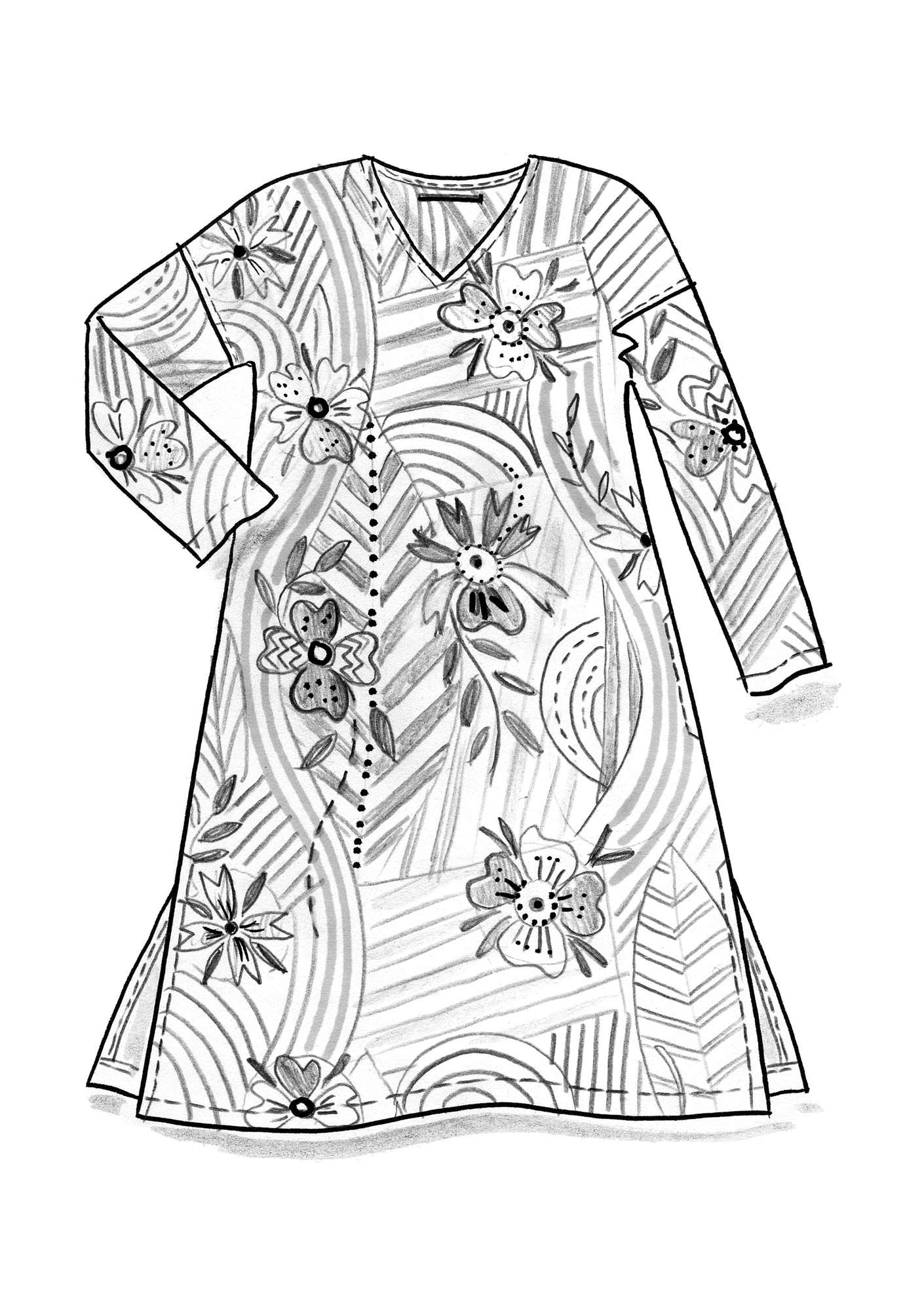 """Artistic"" dress in eco-cotton heron"