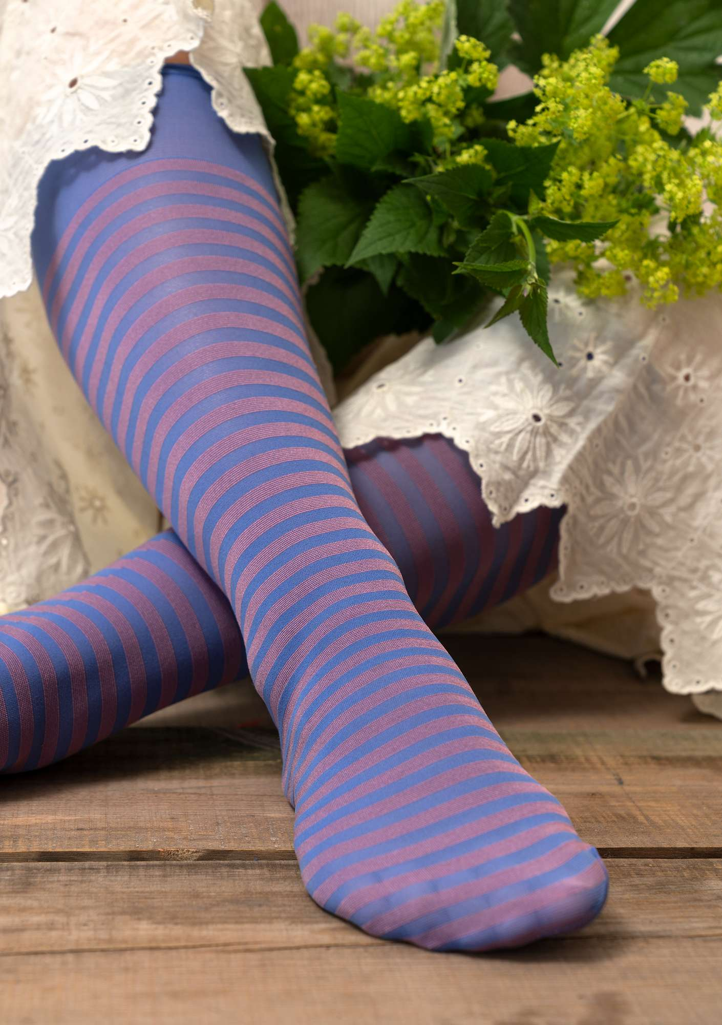 Striped knee-highs in recycled polyamide sky blue