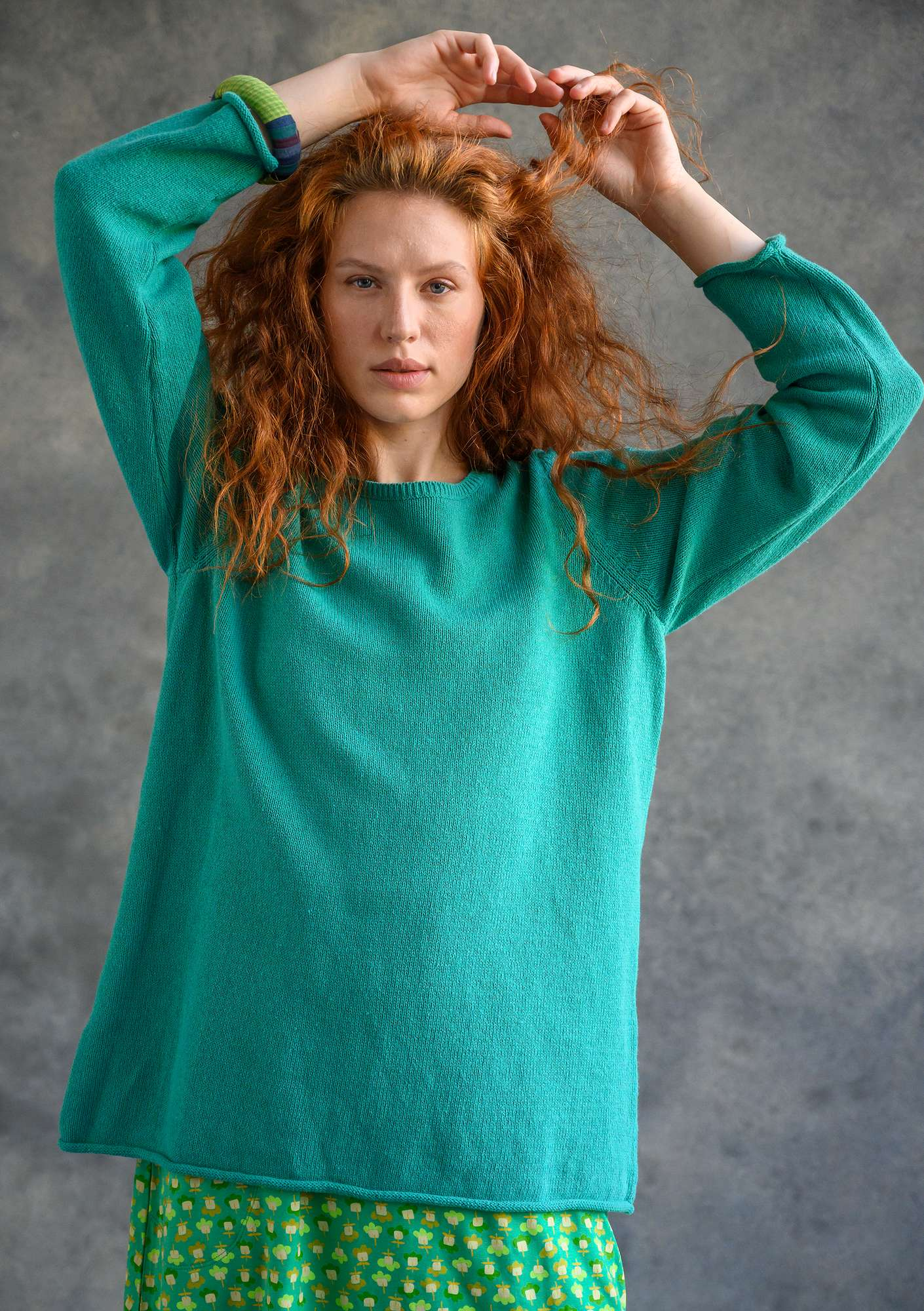 "FAVOURITE sweater ""Confetti"" made of recycled cotton light oriental green"