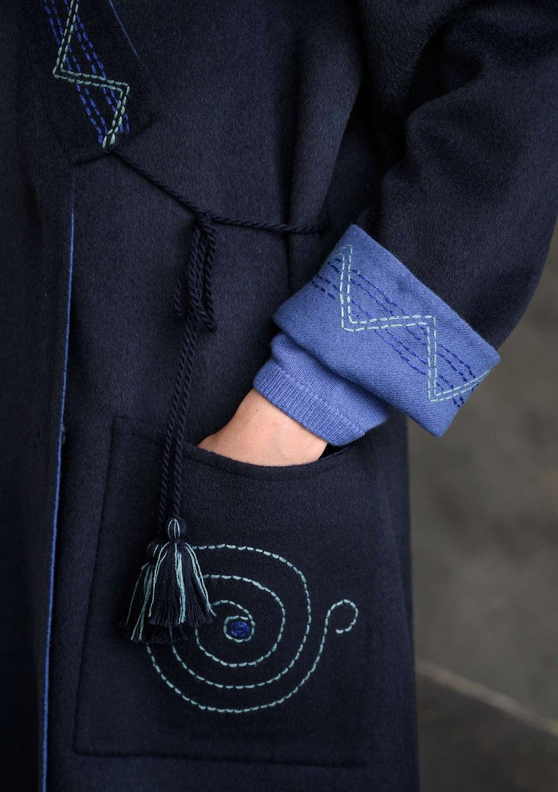 Chic wool coat ink blue