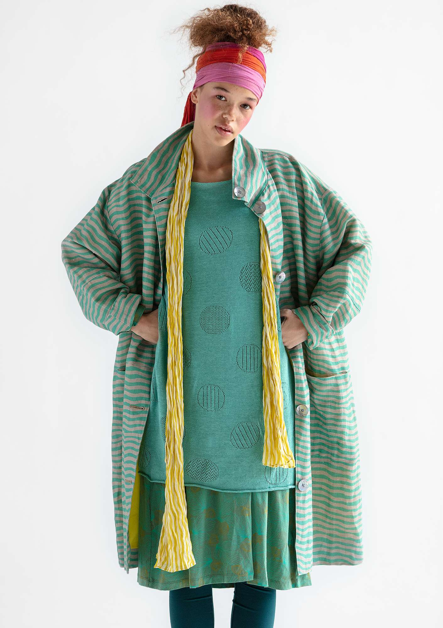 """Krusa"" coat in linen/eco-cotton pale orient green"