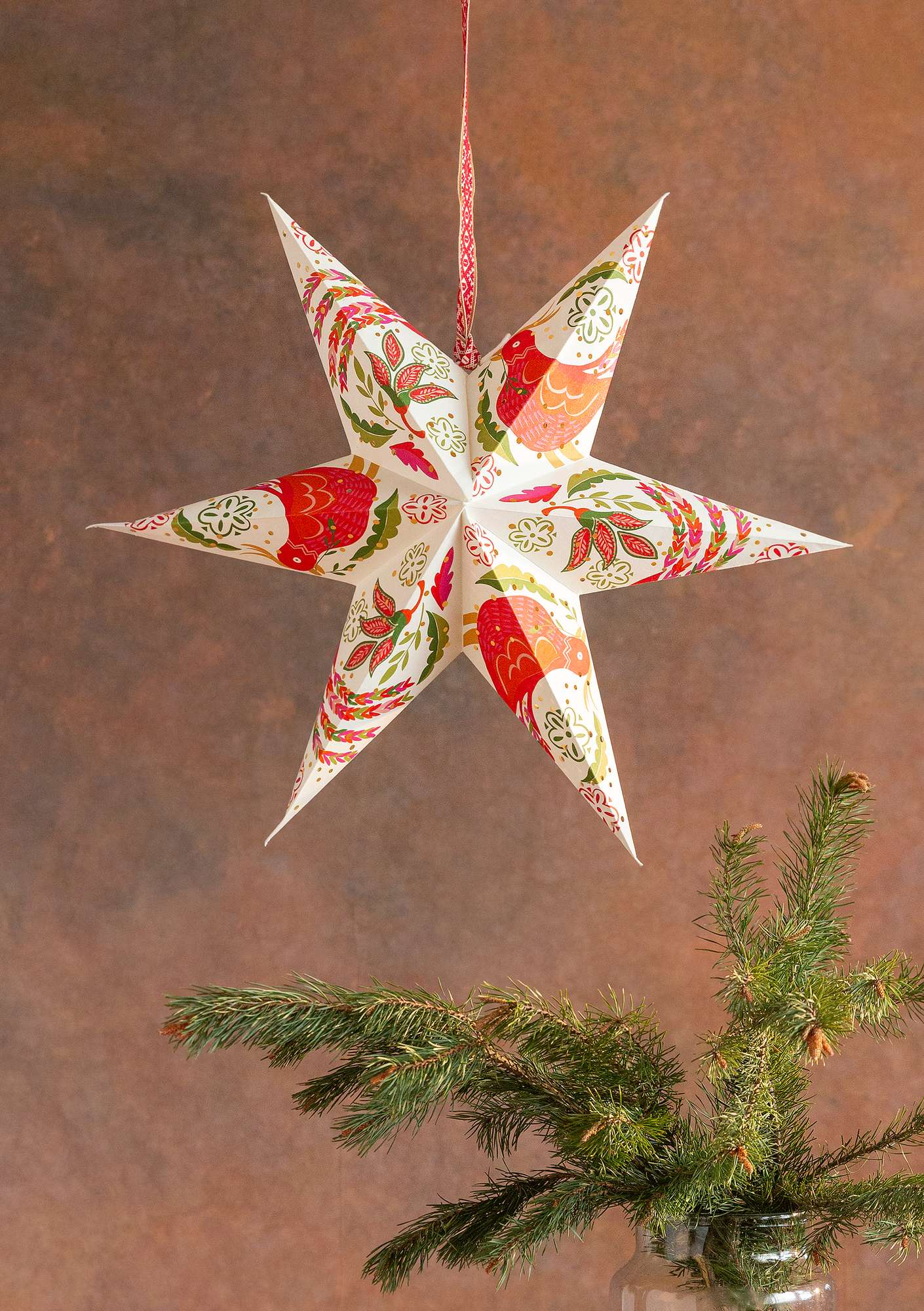 Kerstster Paradiset bright red