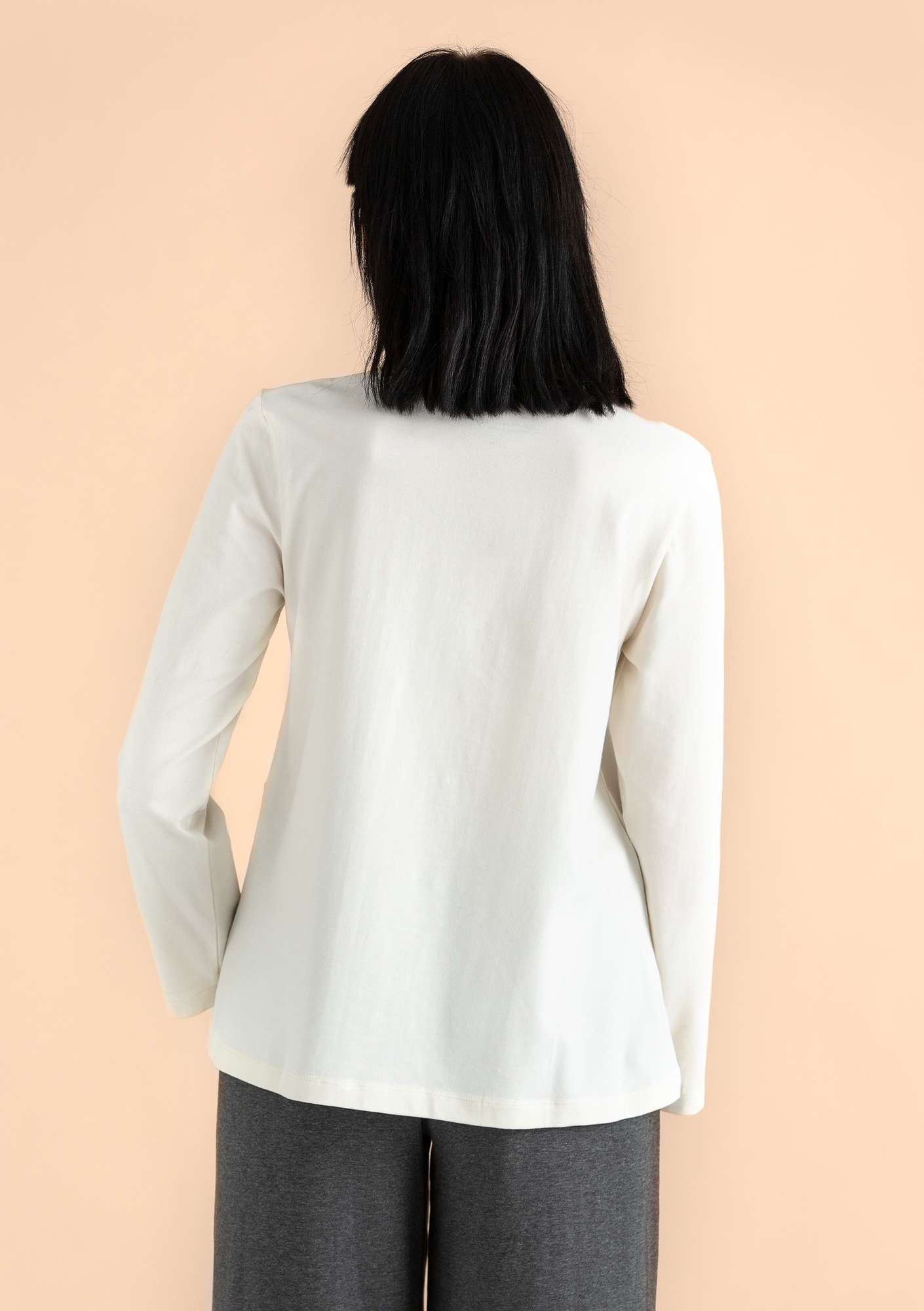 Top in organic cotton/elastane offwhite