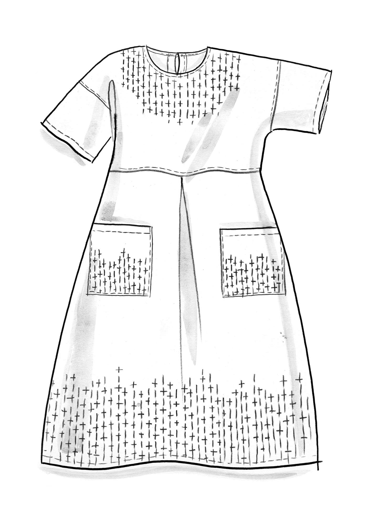 """Mineral"" dress in organic cotton/linen ink blue"