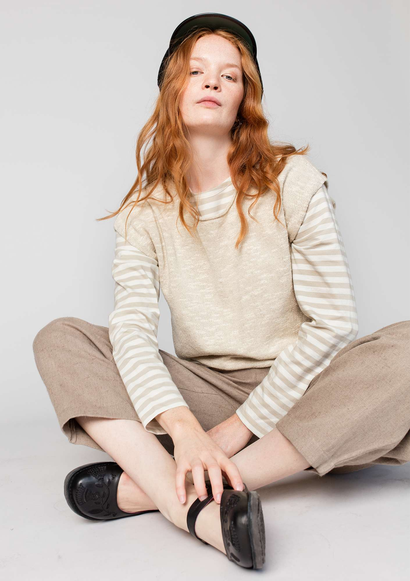 Striped top in organic cotton putty/unbleached