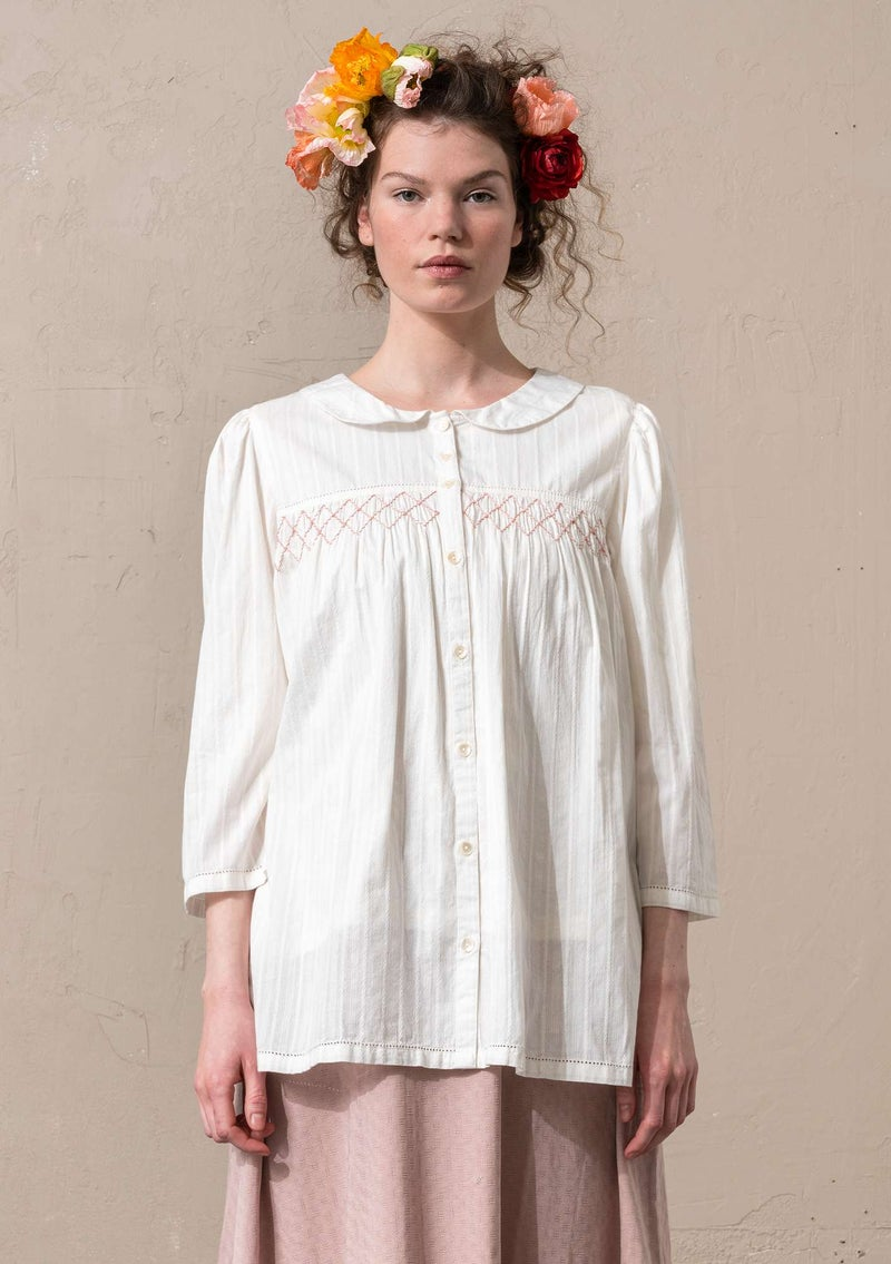 """Fille"" woven blouse in organic cotton light ecru"