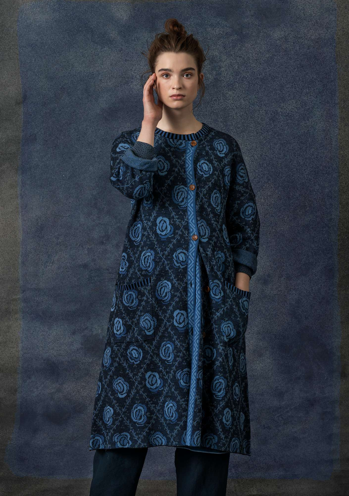 Brokad coat indigo