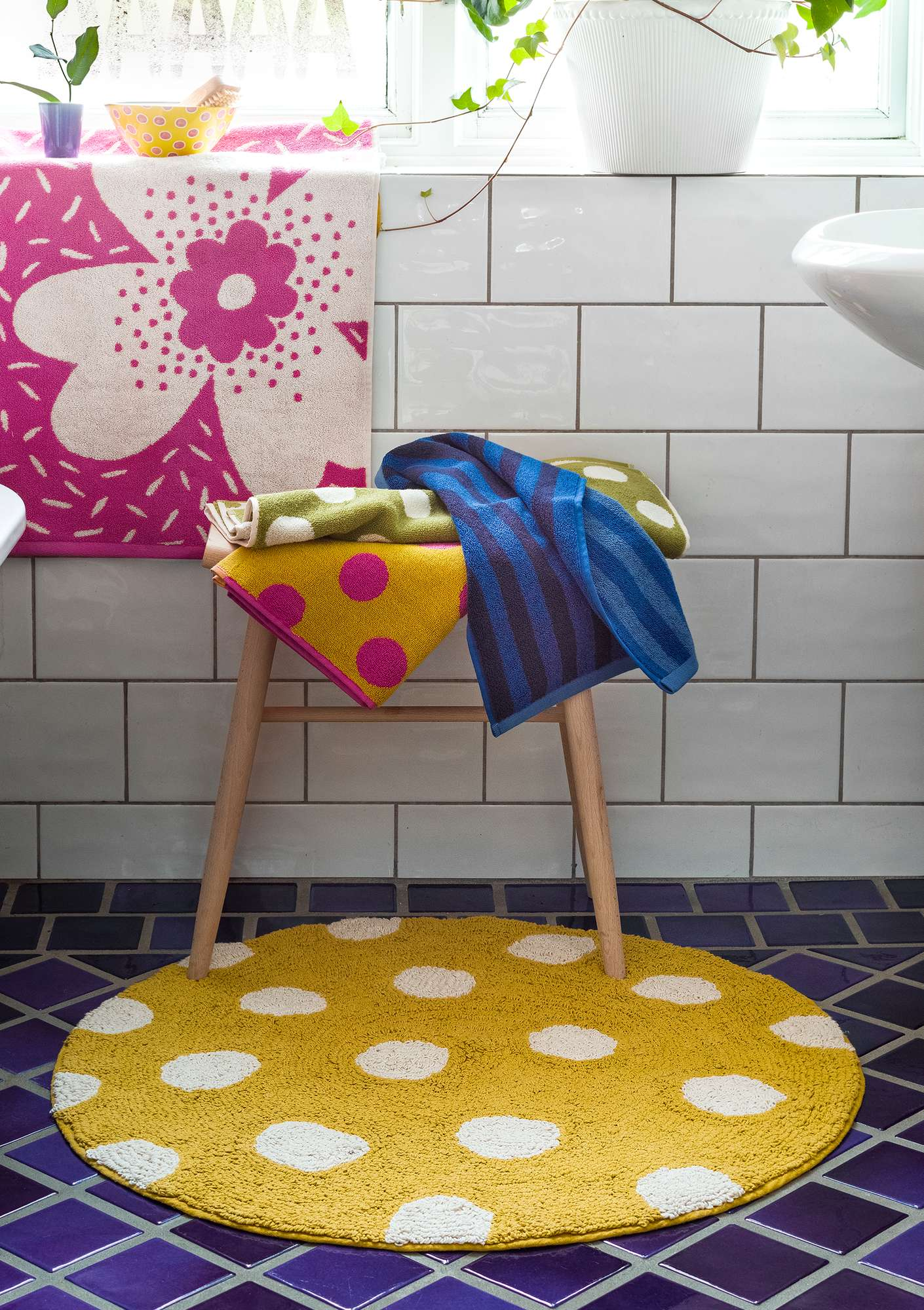 """Solig"" organic cotton bathroom mat golden rain"