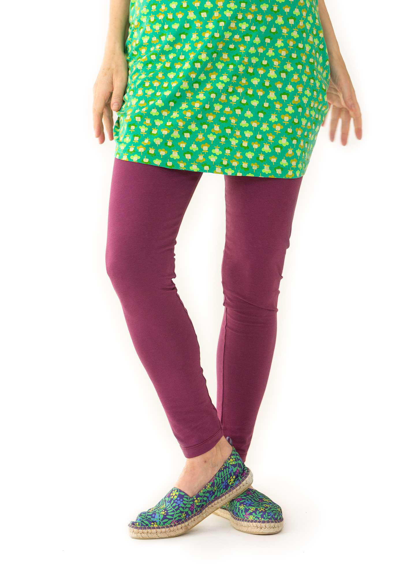 Leggings in organic cotton/spandex grape