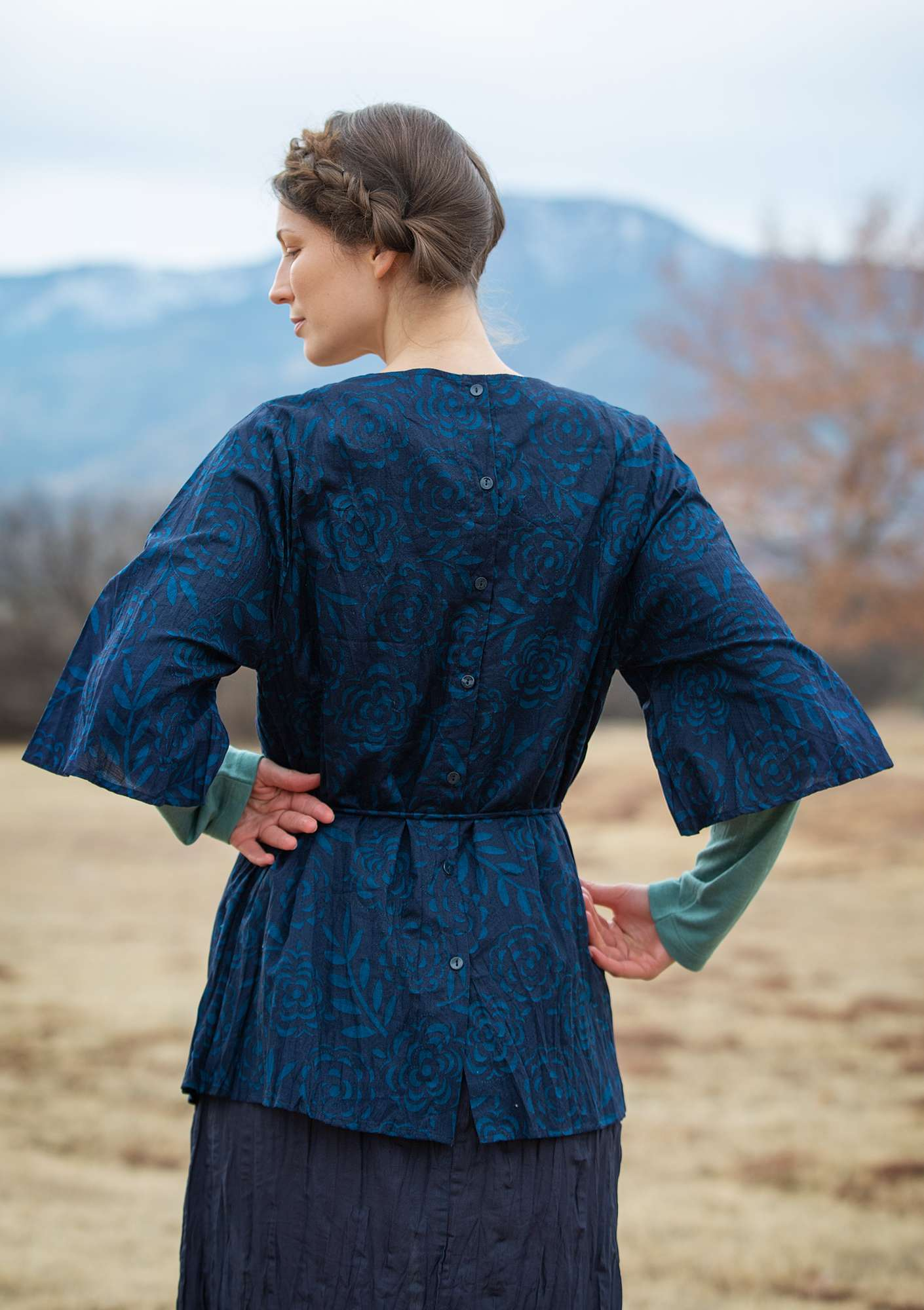 """Minnesota"" tunic in eco-cotton dark indigo"