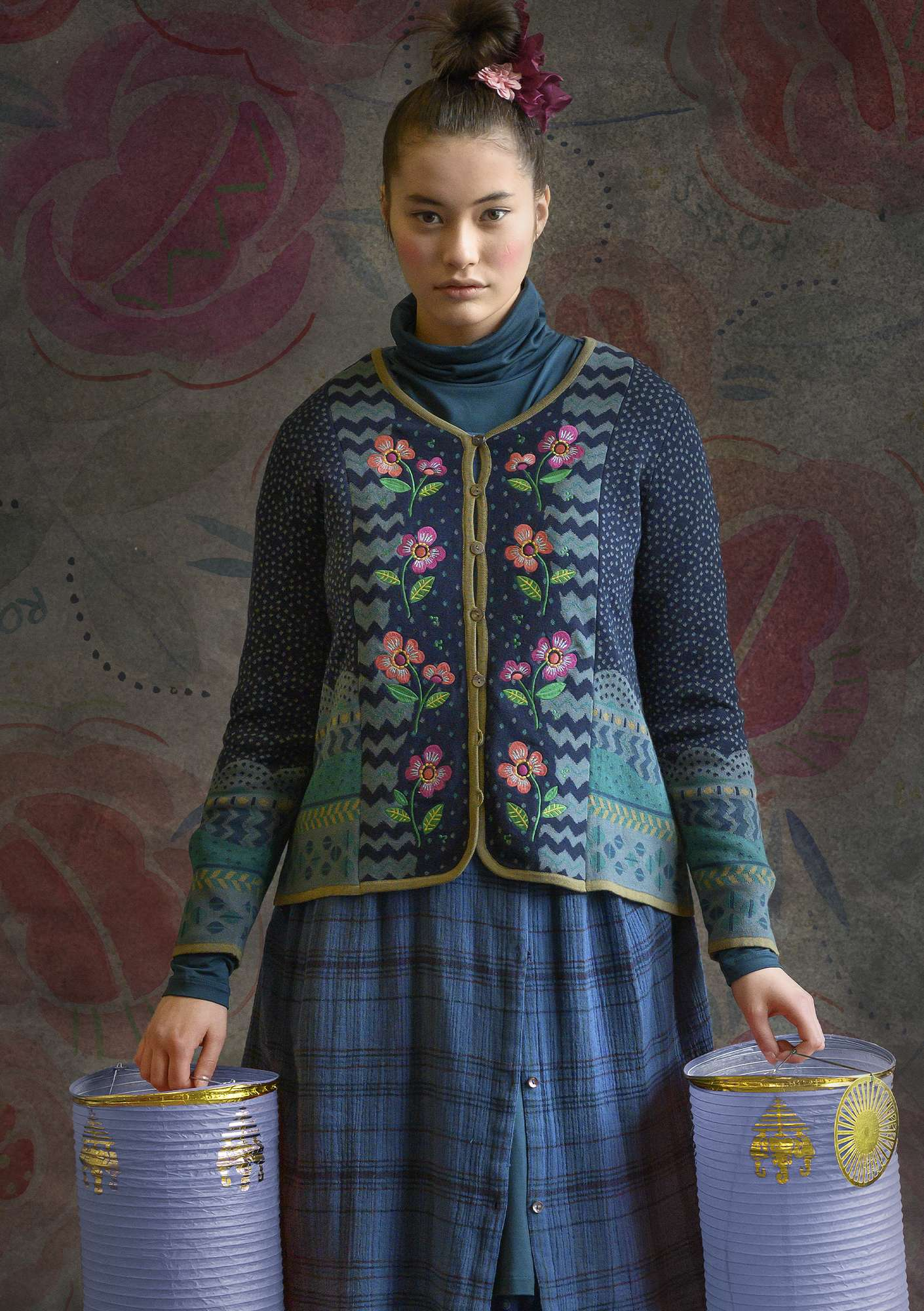 """Hermosa"" cardigan made of recycled cotton/organic cotton dark indigo"