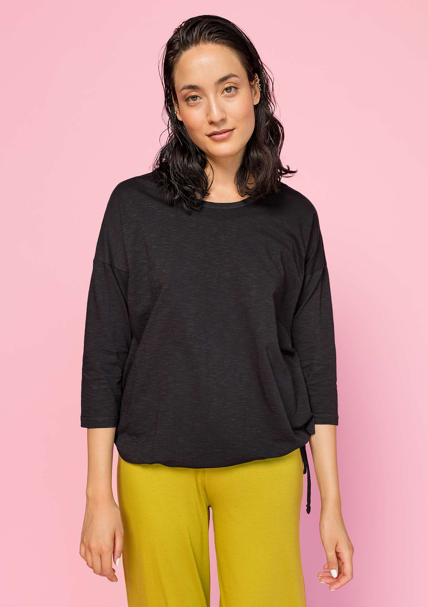 Top in organic cotton black
