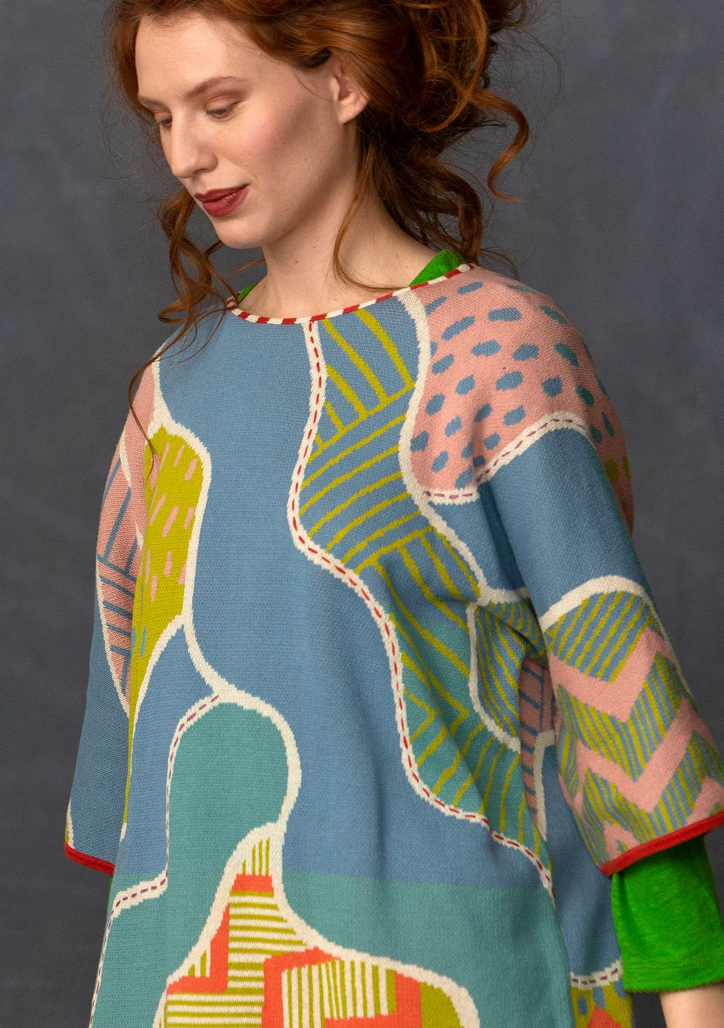 """River"" sweater in eco-cotton/recycled cotton leaf green"