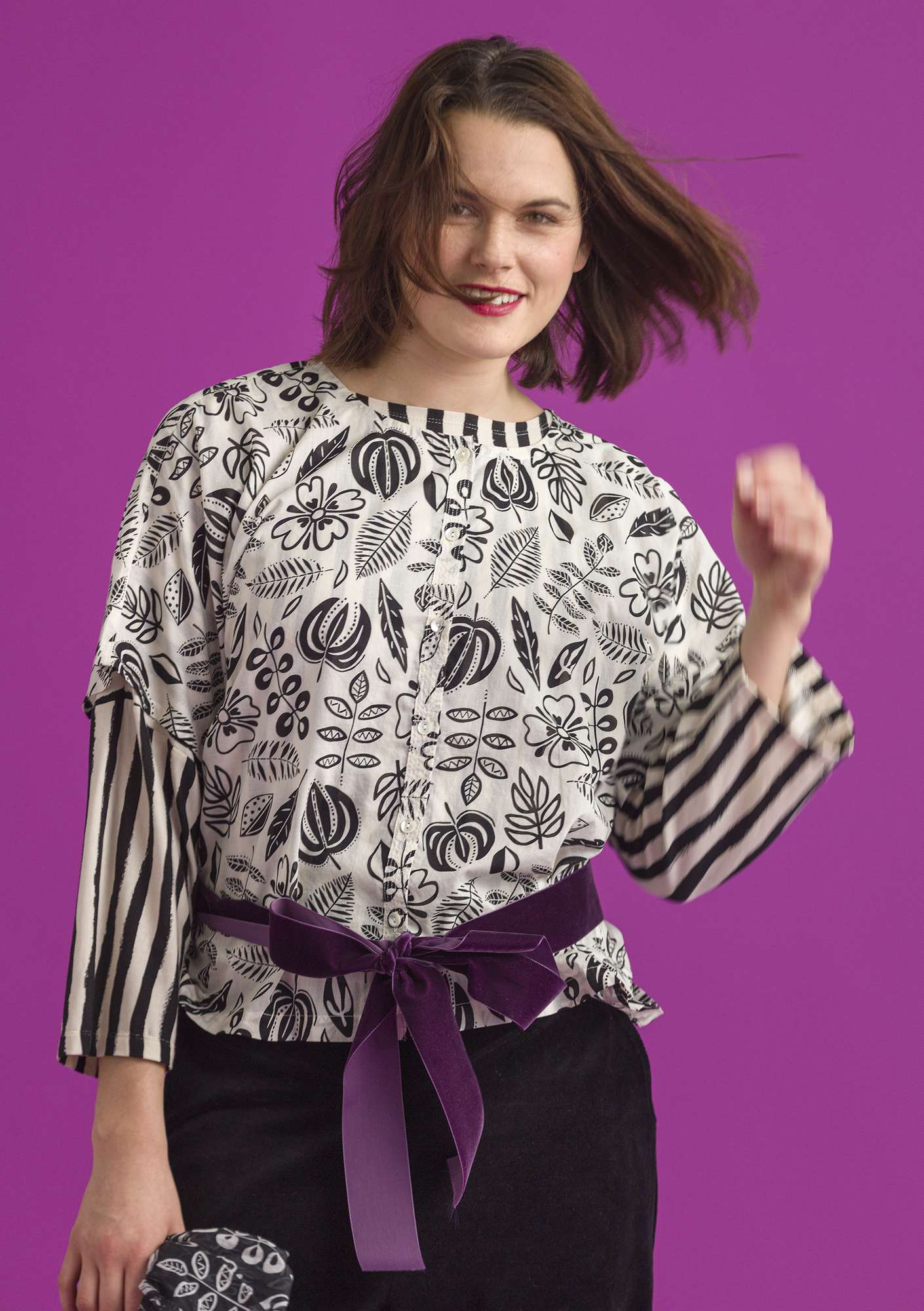 Blouse Rigmor ecru/patterned