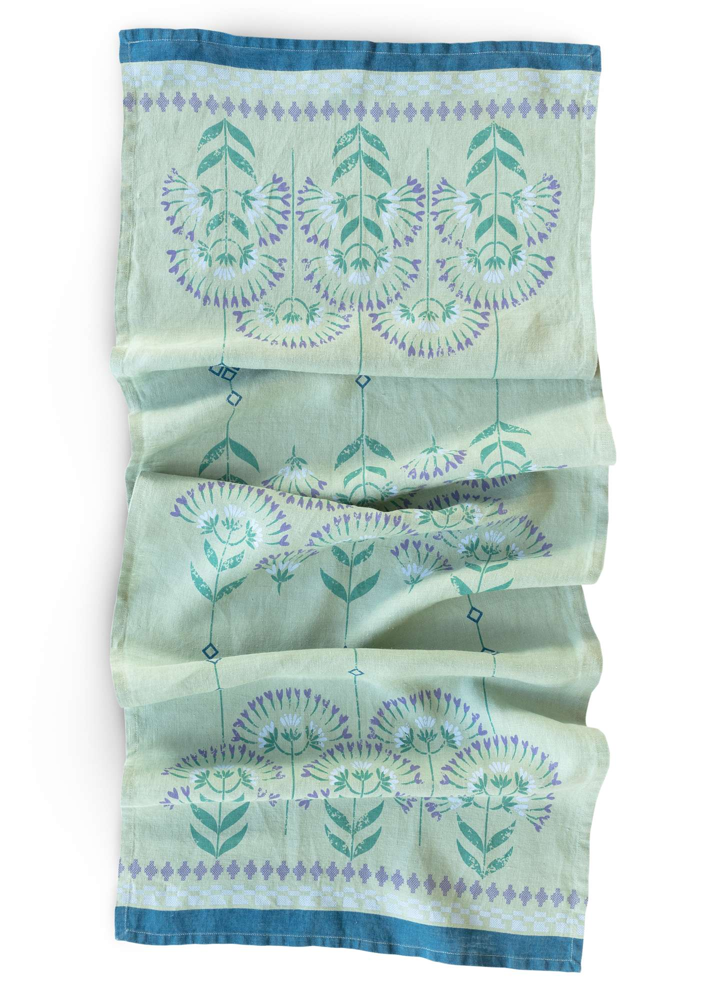 """Pergola"" linen table runner frost green"