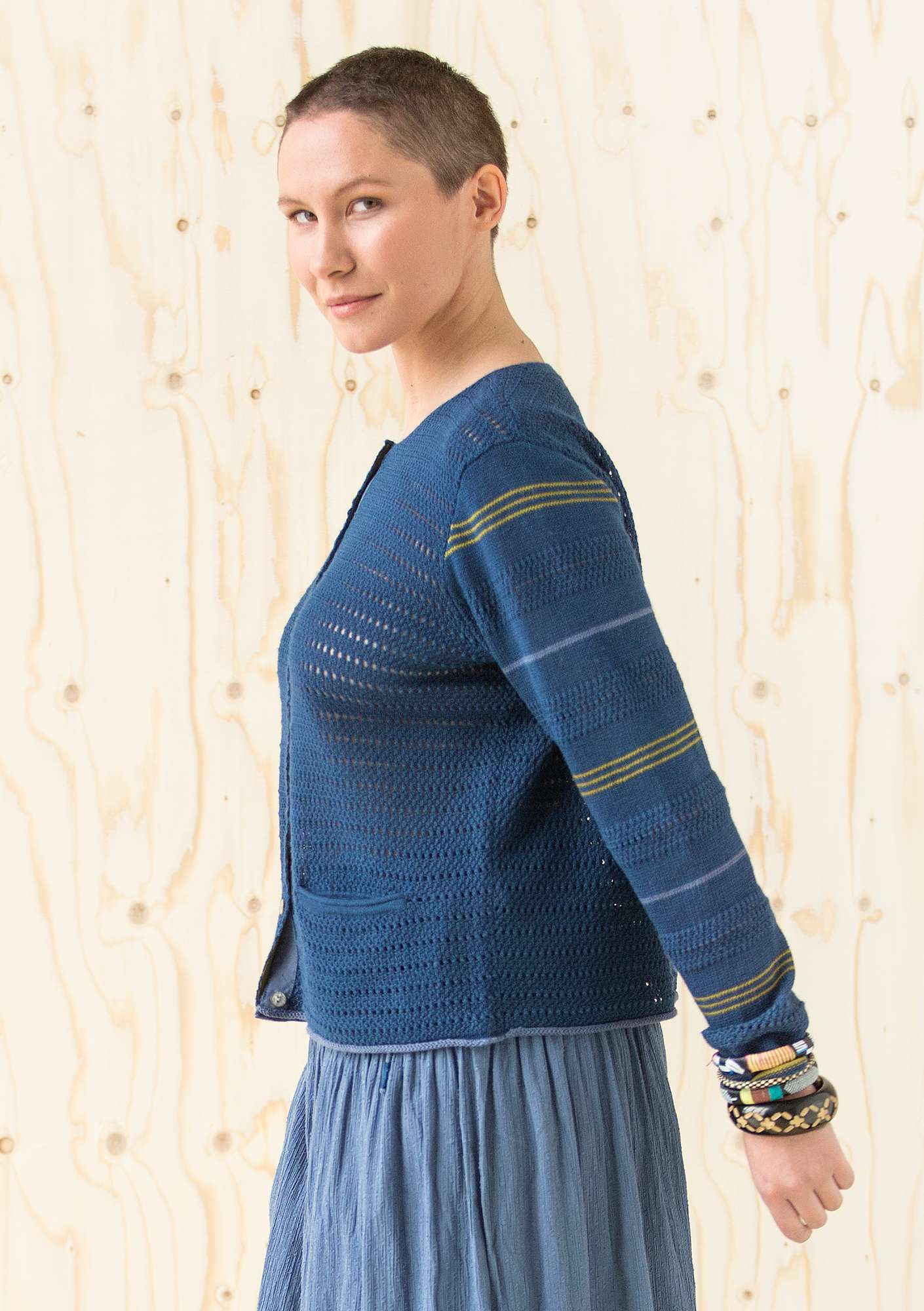 Pointelle cardigan in ramie indigo