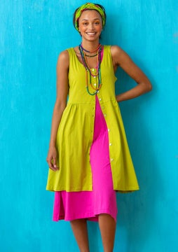 Marimba jersey dress leaf green