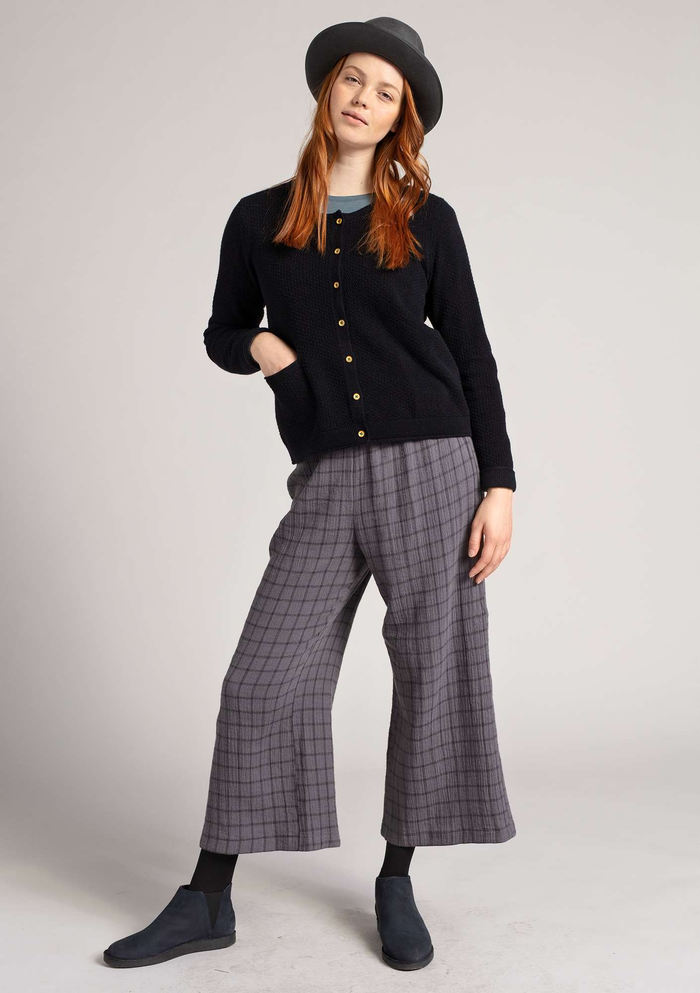 Organic cotton trousers graphite