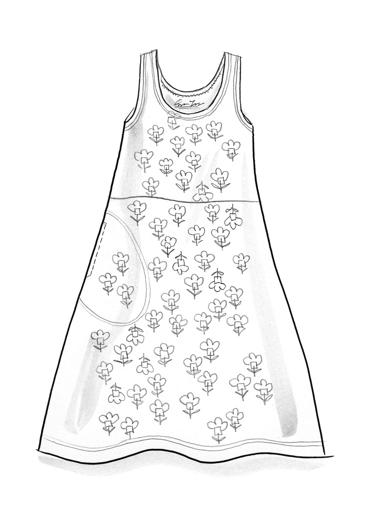 """Molly Dolly"" sleeveless dress in lyocell/elastane putty/patterned"